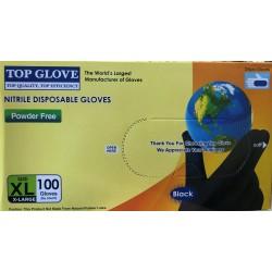 Gants Nitrile Noir Sans Poudre 9/10 X100 TOP GLOVE