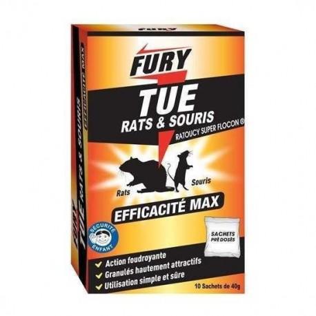 Fury tue rats et souris 10 sachets de 40g